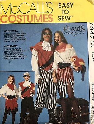 Pirate Halloween Costume Sewing Pattern McCalls 7347 Boys Girls Size 12 - 14