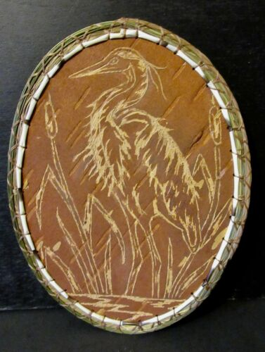 Great Blue Heron Scrape/Etch on birchbark, traditional method; P St John-Mohawk