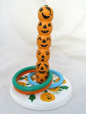 Halloween Pumpkin Decoration Games (Halloween Party Pumpkin Wooden Wood Totem Pole Ring Toss Game Home)