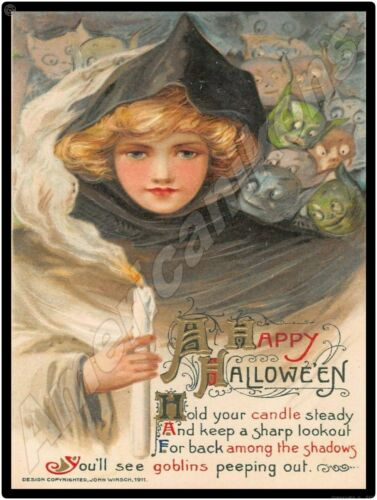 Vintage Look Halloween Decoration New Metal Sign: Hold Your Candle Steady & Look