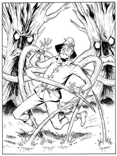 SHADOW OF OZ, Greg Espinoza 9X7 original art, Scarecrow, TAROT DECK ART