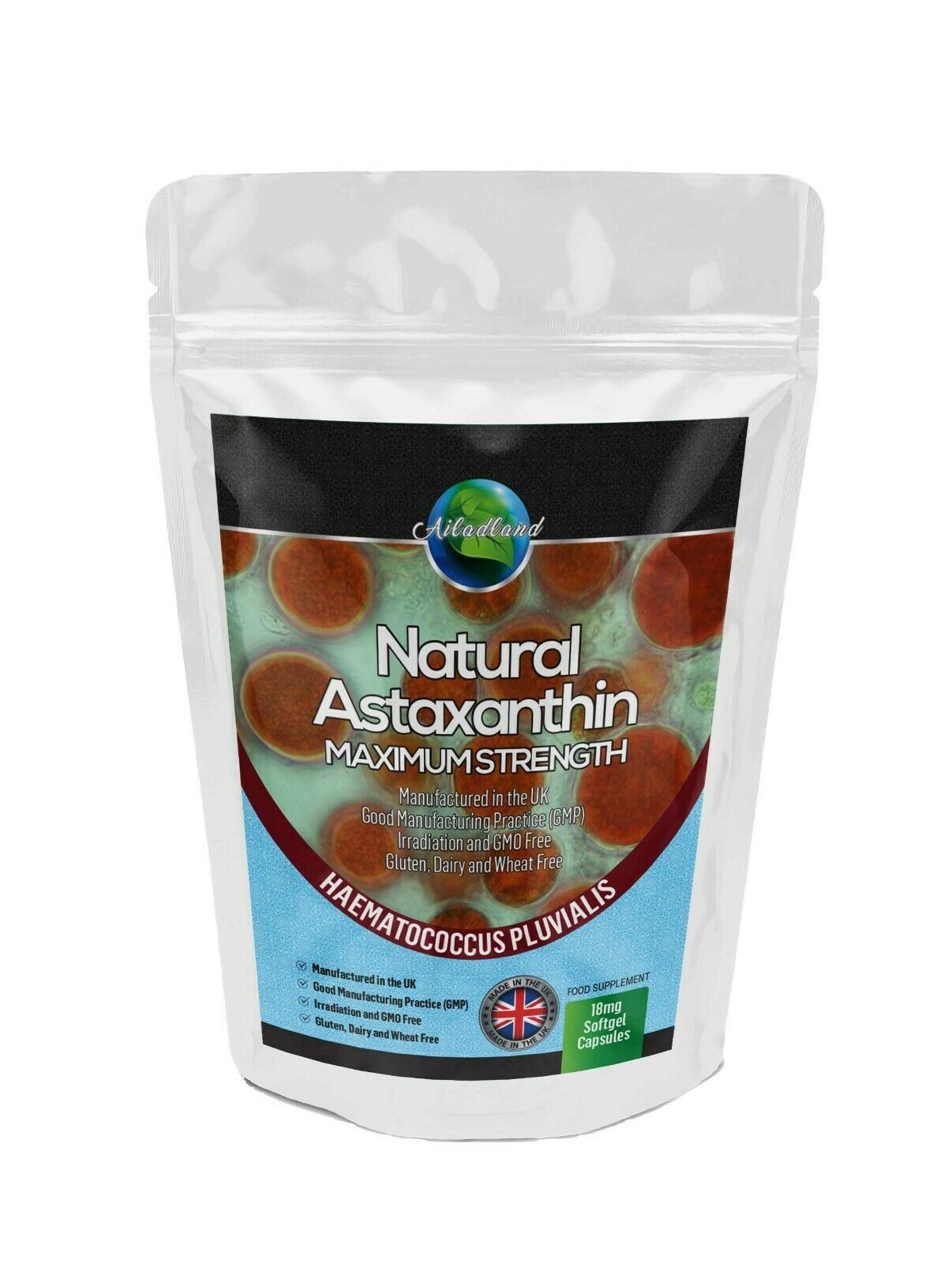 NATURAL ASTAXANTHIN 18mg - 180 HIGHEST STRENGTH SOFTGELS, ANTIOXIDANT MADE IN UK