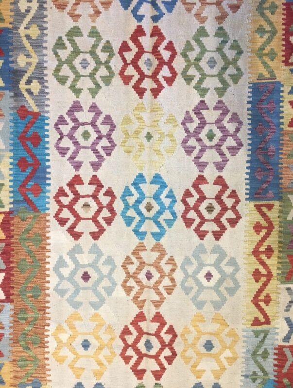 Crisp Colorful - New Kilim Rug - Flatweave Tribal Carpet - 6.5 X 10 Ft.