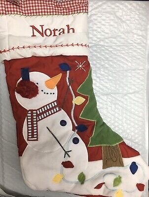 "20""x11"" Checkered Large Snowman Tree Lights Christmas Stocking Mono Norah ()"