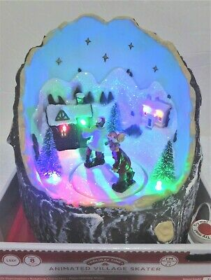 Holiday Time Animated Musical Village Skaters 8 Songs LED Lights New
