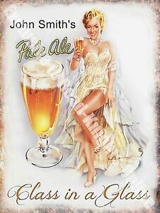 Vintage drink john smith 39 s pale ale girl beer bar pub cafe small metal tin sign ebay - Small tin girl ...