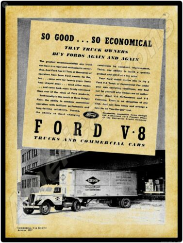 1937 Ford Trucks New Metal Sign: Keeshin Motor Express Tractor Trailer Pictured