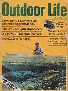 VINTAGE OUTDOOR LIFE MAGAZINE--May 1976 , Trout, Salmon , Snakes, Survival Kit