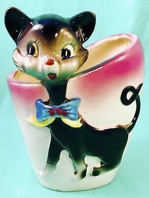 HAPPY HALLOWEEN! Fun Retro Black Cat Planter Figurine Vintage 1950s Kitsch Cute - Happy Halloween Cat