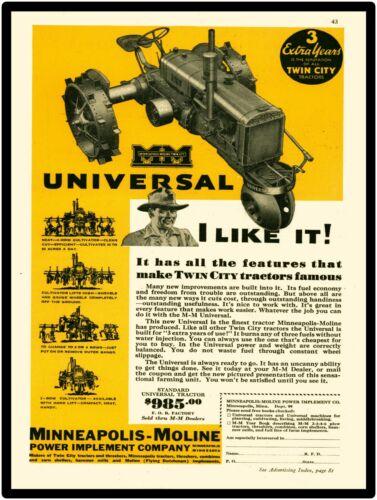 Minneapolis Moline Tractors New Metal Sign: Universal Model, Twin City Tractors
