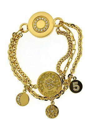 Chanel Camelia No 5 Diamond Charm 18K Yellow Gold Bracelet