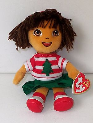 Ty Dora The Explorer Holiday Christmas Outfit Beanie Plush Soft Doll Figure Toy