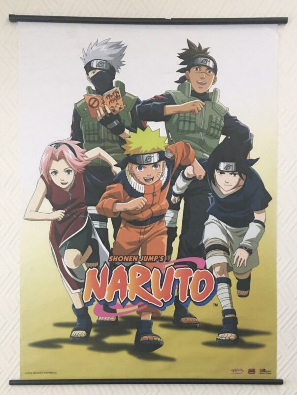 """Naruto: In Group Of 5 Fabric Wall Scroll 31""""X43"""" 2002"""
