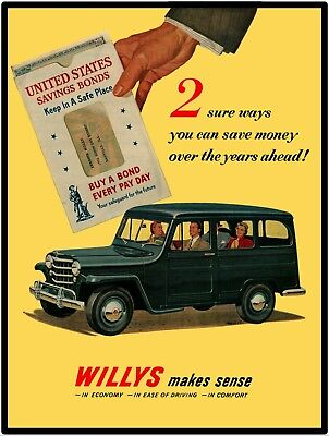 """Willys-overland Wagon ( Willys Overland Station Wagon Vtg Look 9"""" x 12"""" Reproduction Aluminum Sign)"""
