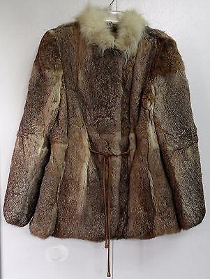 Genuine Rabbit Fur Coat Ladies Large Fox Collar Leather Tie Belt Browns Blondes Rabbit Fur Belt