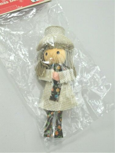 Vtg Sears Miniature Folk Art Hippie Girl Doll Figure Ornament