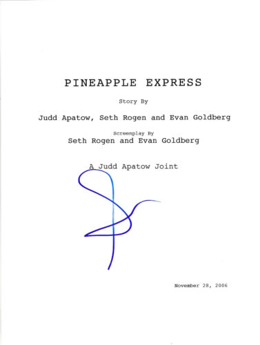 SETH ROGEN SIGNED 'PINEAPPLE EXPRESS' FULL MOVIE SCRIPT SCREENPLAY w/COA ACTOR