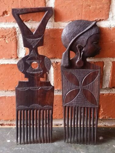 2 Old Older Combs Hair Combs Holzkämme Hair Africa Teak Wood