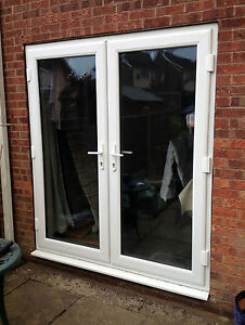 Rosewood on white upvc french doors