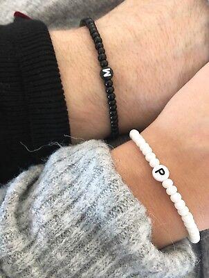 narmband Initiale BLACK & White Schwarz Weiß  (Weiße Perlen-armband)