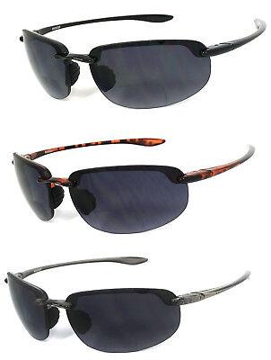 Rimless Inner Bifocal Wrap Around Sunglasses Sports Sun Reader Reading (Rimless Bifocal Glasses)
