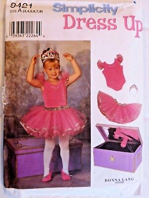 Simplicity 8421 Girls' Dress Up Clothing, Accessories and Chest   3,4,5,6,7,8   - Childrens Dress Up Chest