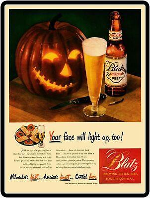 Halloween Themed Beer (Blatz Beer Halloween Themed Jack O Lantern New Metal Sign: LARGE SIZE  12 X)