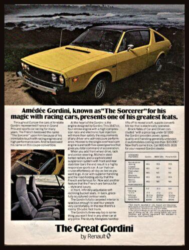 1977 RENAULT 17 Gordini Vintage Car Photo AD