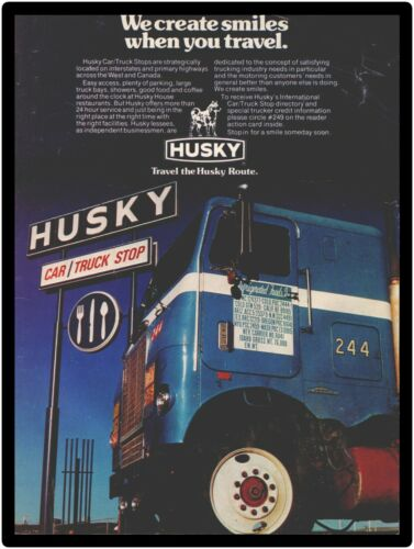 1976 White Freightliner Truck New Metal Sign: At Husky Truck Stop