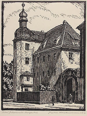 Paul Hartmann: Johannis-Hospital in Leipzig, Linolschnitt 1914