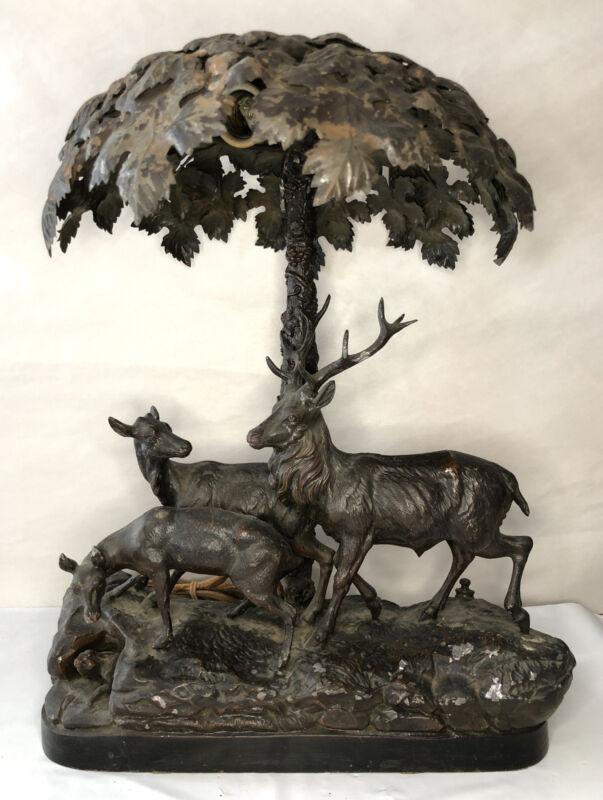 """OLD ANTIQUE DEER ELK LAMP STATUE BRONZED METAL LEAF TREE SHADE 18"""""""