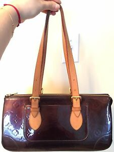 100% authentic LV Louis Vuitton Rosewood Patent Leather