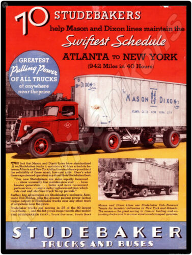 Studebaker Truck New Metal Sign: Mason & Dixon Truck Lines Atlanta to NYC