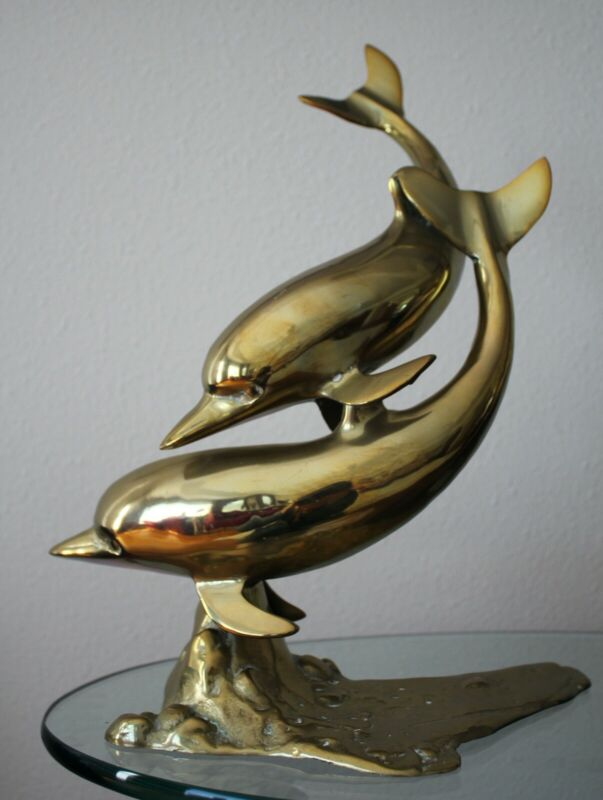 """Brass Dolphins Swimming Statue Figurine Sculpture Vintage Playful Large 15.5"""""""