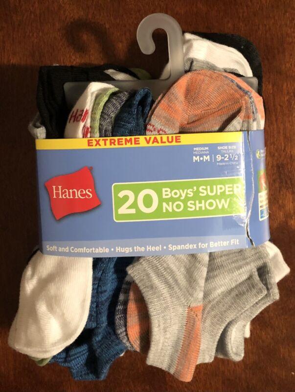 Hanes Boys M 9-2.5 Super No Show Socks 20 Pack