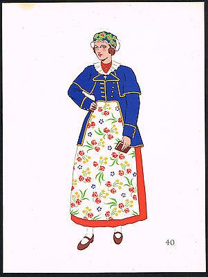 1930s Vintage Poland Kujawskie Polish European Women Clothing Pochoir Art Print