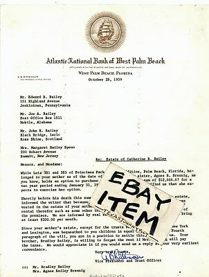 1959 Atlantic National Bank West Palm Beach Florida Rittenour Bradley Bailey