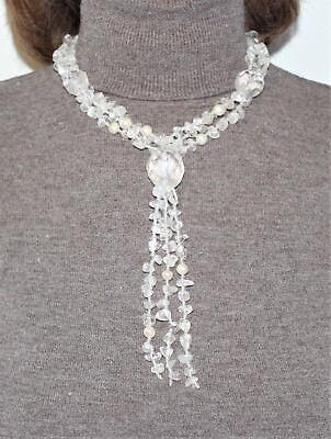 Collar Collier Cristal de Roca Perlas de Río Piedras Semipreciosas Auténticas