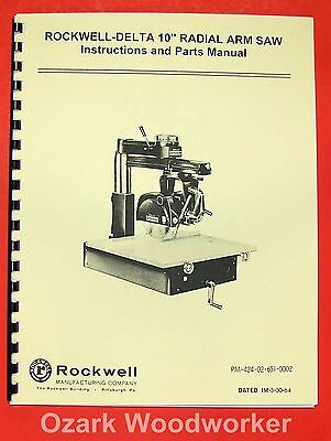 Rockwell-delta 10 Radial Arm Saw Operator Part Manual 0635
