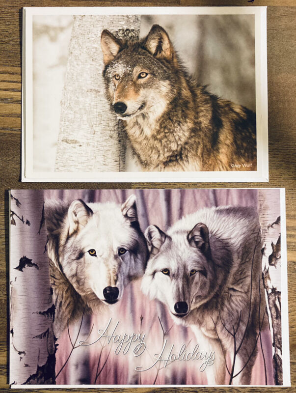 Wolf Wolves Christmas Holiday Greeting Card w/ Envelopes Pair
