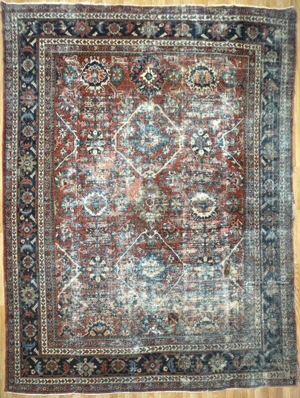 Terrific Tribal - 1900s Antique Oriental Rug - Nomadic Carpet - 8.9 X 11.4 Ft.