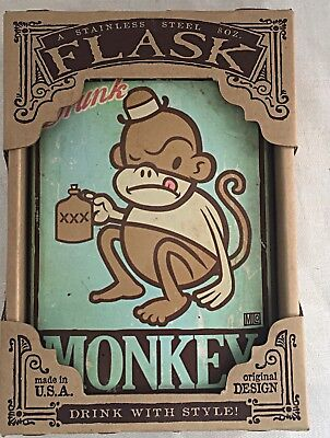 (Drunk Monkey Stainless Steel Hip Flask Unique Gift Vintage Trixie and Milo)