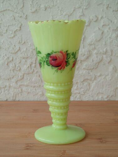 Early 1912 Rosa Uranium Custard Glass Vase Floral Design Antique