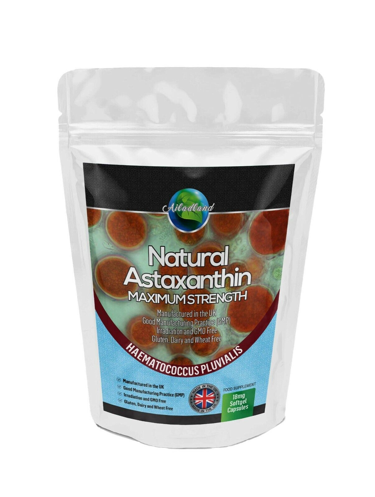 NATURAL ASTAXANTHIN 18mg HIGHEST STRENGTH 90 SOFTGELS, ANTIOXIDANT - MADE IN UK.