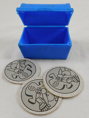 HTF Vintage Captain Crunch Cereal Blue Treasure Chest 3 Coins Cap'n