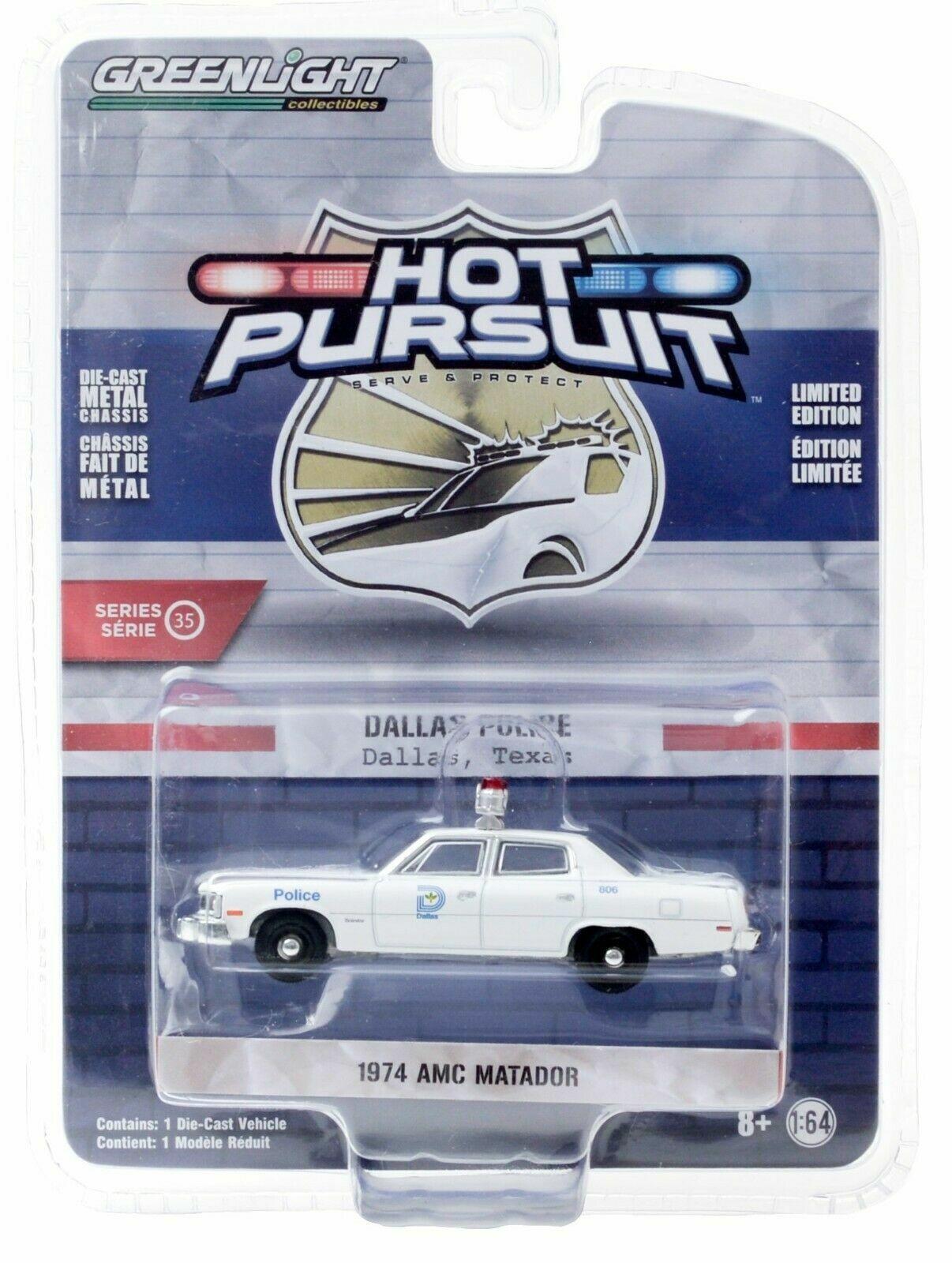 1974 AMC Matador POLICE Milwaukee Wisconsin ** Greenlight Hot Pursuit 1:64 NEU