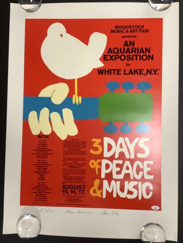 Grace Slick Signed Woodstock Poster 22x30 Richie Havens Autograph + Skolnik JSA