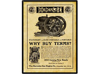 IN Evansville 1915 Hercules Gas Engine New Metal Sign LARGE SIZE 12 x 16