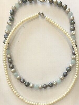 2 Honora Pearl Necklaces Sterling Silver Clasp