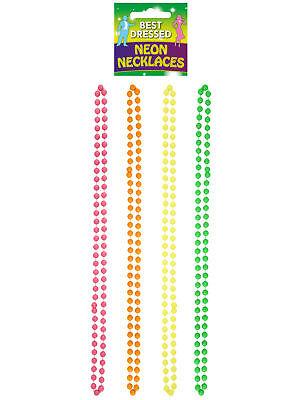 4 Neon Perlen Halsketten - 80s Verkleidung Kostüm Zubehör Rave Punk Homosexuelle